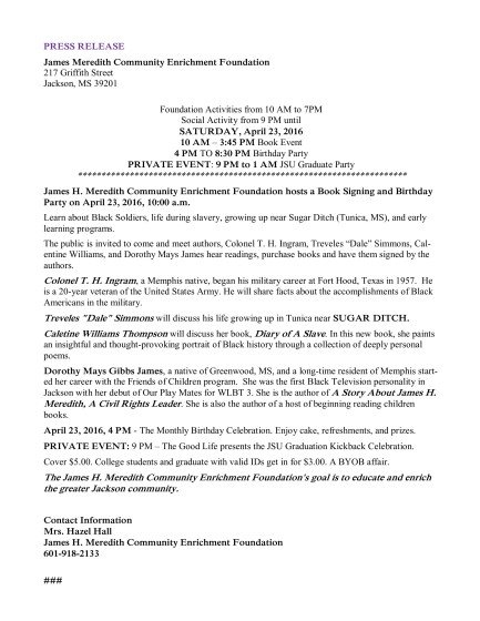 JM Community April Flyer