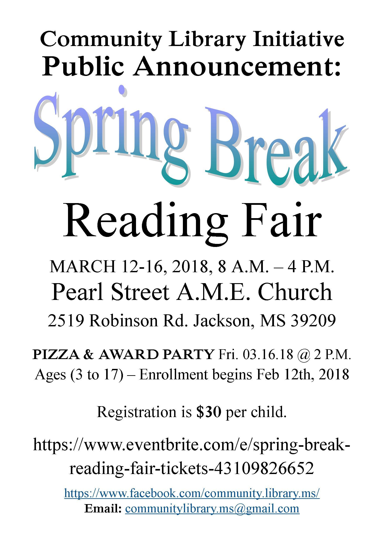 Spring Break Reading Fair Announcement